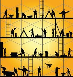 Construction worker silhouette at work vector