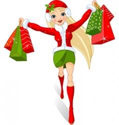 Christmas shopping vector image