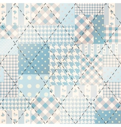 Blue patchwork with diagonal stitch vector