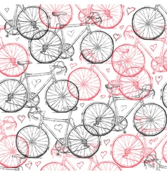 Vintage bicycle hand drawn seamless pattern with h vector