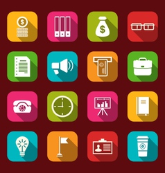 Group simple and trendy flat icons of business and vector