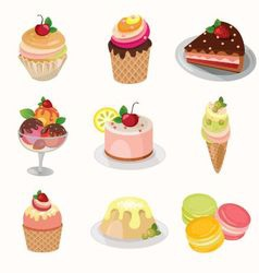 Different desserts with fruit vector