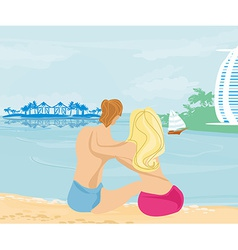 Couple on tropical beach vector
