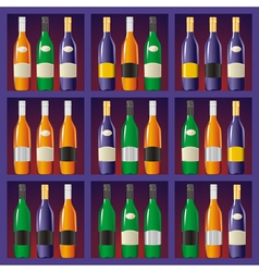 Showcase with bottles vector