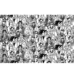 Young people seamless pattern group monochrome vector