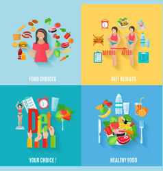 Diet 4 flat icons square banner vector