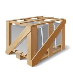 Wooden crate with cargo on a pallet vector