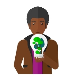 Man with lightbulb and trees inside vector