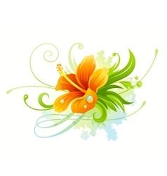 Orange hibiscus flower vector