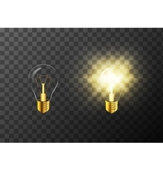 On and off realistic light bulb on transparent vector