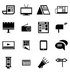 Black advertisement icon set vector