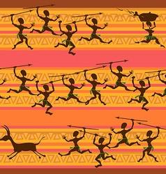 Comic seamless pattern of hunting aborigines vector