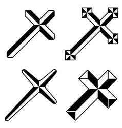Black christian crosses vector