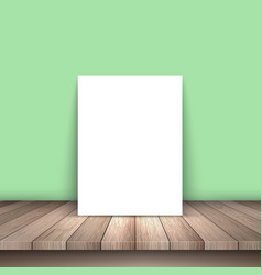 Blank picture on wooden table vector