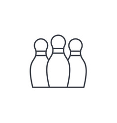 Bowling skittles thin line icon linear vector