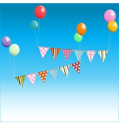 Bunting floating with balloons over blue sky vector
