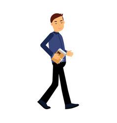 Businessman cartoon character in a blue shirt vector