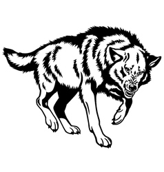 canis lupus black white vector image vector image