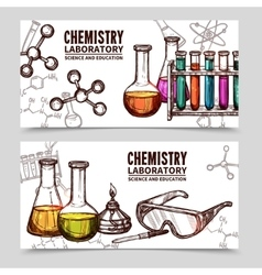 Chemistry laboratory sketch banners vector