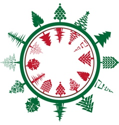 christmas circle composition vector image vector image