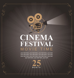 cinema festival poster with old fashioned camera vector image