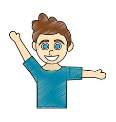 Color pencil caricature half body boy with open vector