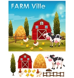 Farm animals in the farm vector image vector image