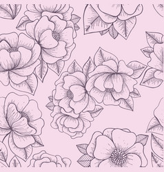flowers hand drawing seamless pattern vector image