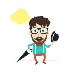 fun guy with umbrella and bowl hat vector image