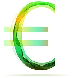 Green abstract Euro sign vector image