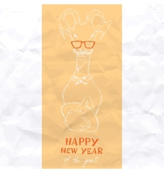 Hand Drawn Portrait of Hipster Goat vector image vector image