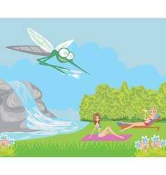hungry mosquito cartoon vector image