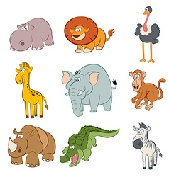Icons with african animals vector image