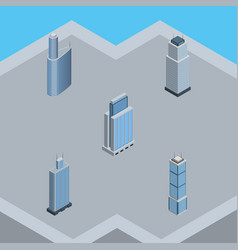 Isometric construction set of tower urban vector
