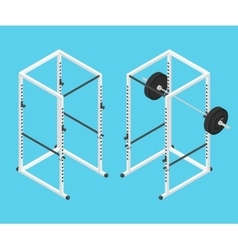 Isometric gym power rack and barbell vector