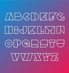 Linear silhouette font Geometric figures outline vector image