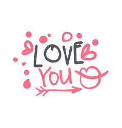love you logo template colorful hand drawn vector image vector image