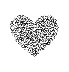 Monochrome silhouette of many hearts forming a big vector
