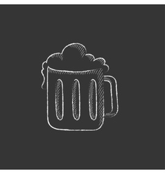 Mug of beer drawn in chalk icon vector
