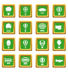Retro balloons aircraft icons set green vector