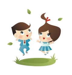 School boy and girl vector image