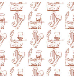 Seamless pattern with a harp and a cat in a high vector