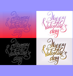 set color happy valentines day typographic vector image