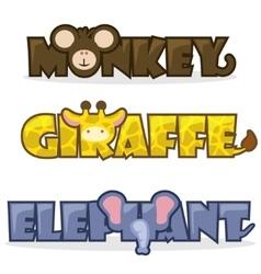 set cute cartoon wild animals vector image