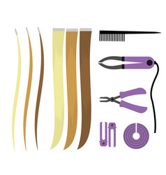 set of of icons of hair extensions vector image vector image
