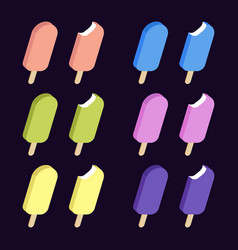 Set with colorful ice creams vector