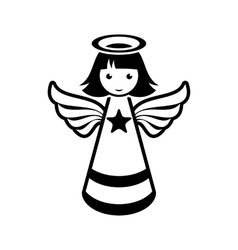 Simple black christmas angel icon vector
