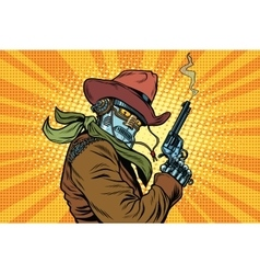Steampunk robot cowboy with Smoking after firing a vector image