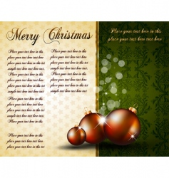 vintage Christmas baubles background vector image