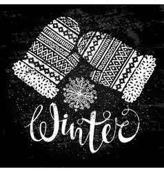Winter text and knitted woolen mittens with vector